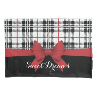 赤く黒いタータンチェックの格子縞およびリボンのガーリーなかわいい 枕カバー