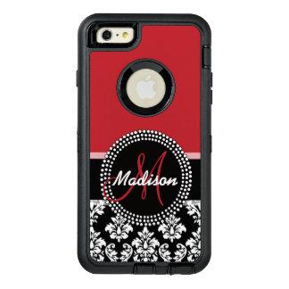 赤く黒いダマスク織パターン、あなたの一流のモノグラム オッターボックスディフェンダーiPhoneケース
