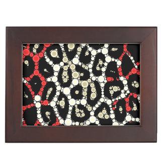 赤く黒いチータの円の抽象芸術 ジュエリーボックス