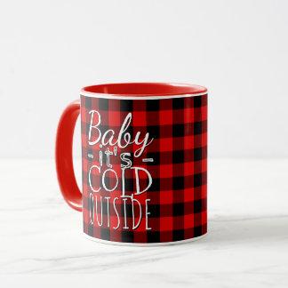 赤く黒いベビー冷たい外の格子縞パターン マグカップ