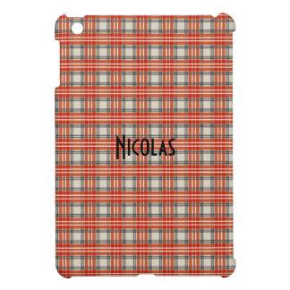 赤く黒いベージュギンガムパターン名前入りな名前 iPad MINIケース