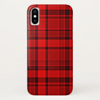 赤く黒い格子縞のタータンチェック iPhone X ケース