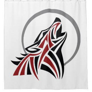 赤く黒い灰色の月を遠ぼえしている種族のオオカミ シャワーカーテン