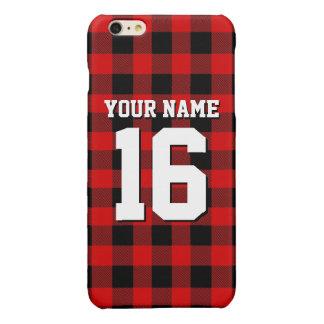 赤く黒くプレッピーなバッファローの格子縞のチームジャージー 光沢iPhone 6 PLUSケース