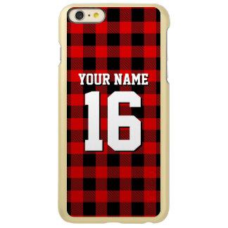 赤く黒くプレッピーなバッファローの格子縞のチームジャージー INCIPIO FEATHER SHINE iPhone 6 PLUSケース