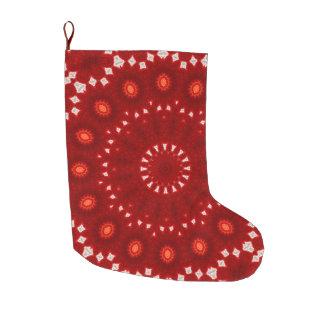 赤く、オレンジおよび白い曼荼羅の休日 ラージクリスマスストッキング