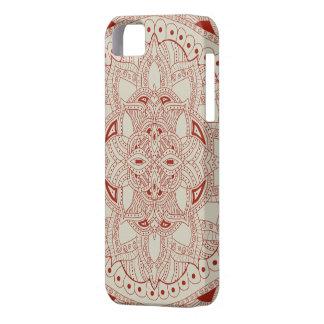 赤く、クリーム色のHennaのスタイルの曼荼羅 iPhone SE/5/5s ケース