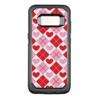 赤く、ピンクのアーガイル柄のなハートパターン オッターボックスコミューターSamsung GALAXY S8 ケース