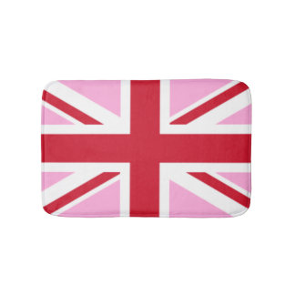 赤く、ピンクのイギリスの旗の英国国旗 バスマット