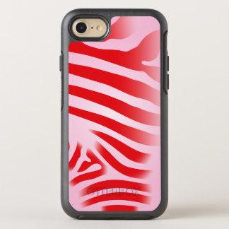 赤く、ピンクのシマウマのプリントは縞で飾ります オッターボックスシンメトリーiPhone 8/7 ケース