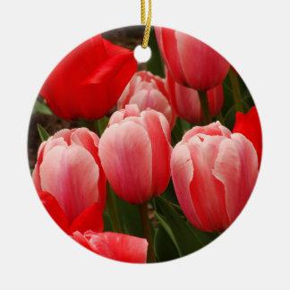 赤く、ピンクのチューリップ セラミックオーナメント