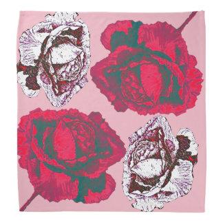 赤く、ピンクのバラ バンダナ