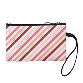 赤く、ピンクの対角線のストライプなバレンタインデーのギフト コインパース
