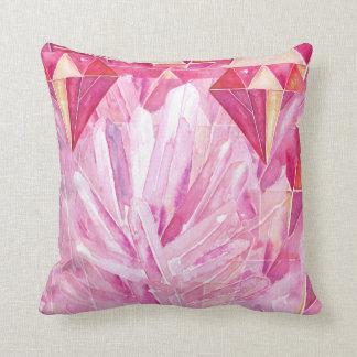 赤く、ピンクの水晶宝石の抽象芸術 クッション