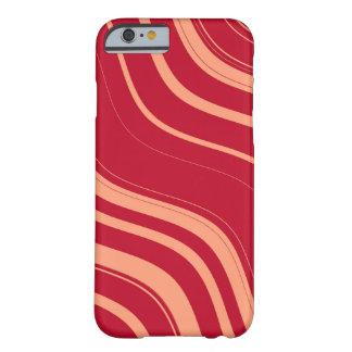赤く、ピンクの波状のストライプなパターン BARELY THERE iPhone 6 ケース