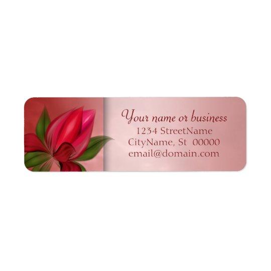 赤く、ピンクの花の大理石 返信用宛名ラベル
