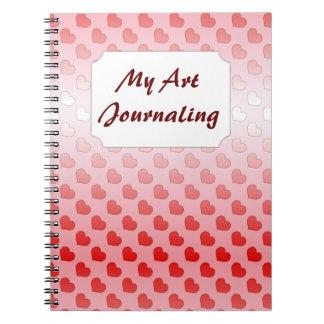 赤く、ピンクシナモンキャンデーのハート ノートブック