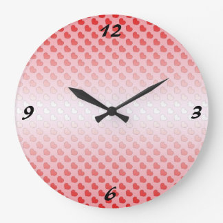 赤く、ピンクシナモンキャンデーのハート ラージ壁時計