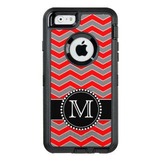 赤く、灰色および黒いシェブロンのモノグラムのな擁護者 オッターボックスディフェンダーiPhoneケース