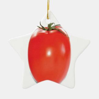 赤く、熟したトマトのデザイン 陶器製星型オーナメント