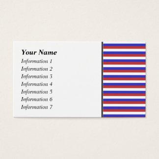 赤く、白いおよび青い縞 名刺