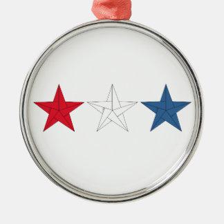 赤く、白いOrigamiの3つの星-および青 メタルオーナメント