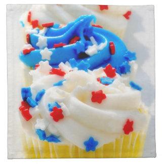 赤く、白くおよび青のカップケーキ ナプキンクロス