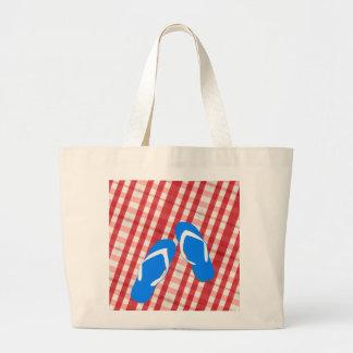 赤く、白くおよび青のビーチサンダル ラージトートバッグ