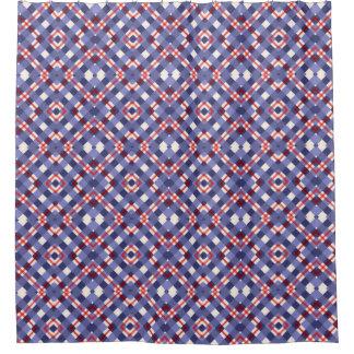 赤く、白くおよび青の格子縞 シャワーカーテン