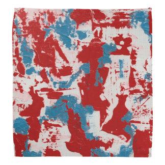 赤く、白くおよび青ブラシストローク バンダナ