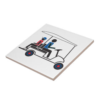 赤く、白くおよび青PTC GA家族のゴルフカート タイル