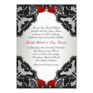 赤く、白くおよび黒いレースの結婚式招待状 カード