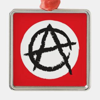 赤く、白く及び黒い無秩序の旗の印の記号 シルバーカラー正方形オーナメント