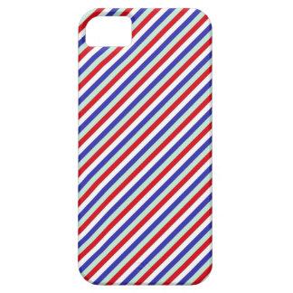 赤く、白く、および青の斜めのストライプ iPhone SE/5/5s ケース
