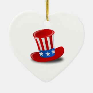 赤く、白く、および青の米国市民シルクハット セラミックオーナメント
