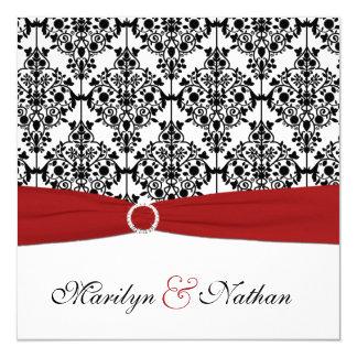 赤く、白く、および黒いダマスク織の結婚式招待状 カード