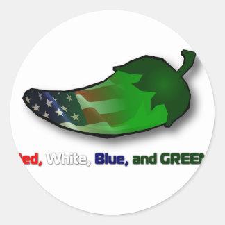 赤く、白く、青および緑 ラウンドシール