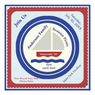赤く、白く、青の航海のなピクニック招待状 13.3 スクエアインビテーションカード