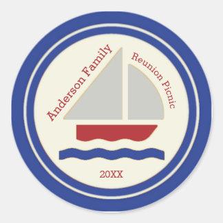 赤く、白く、青の航海のなヨットのステッカー ラウンドシール