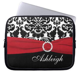 赤く、白く、黒いダマスク織の模造のなリボンのラップトップスリーブ ラップトップスリーブ