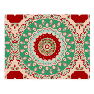 赤く、緑及び水の万華鏡のように千変万化するパターンの花 ポストカード
