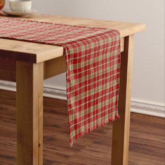 赤く、薄緑の素朴な格子縞 ショートテーブルランナー