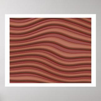 赤く、薄茶のオップアート3D波状ライン ポスター