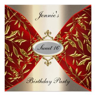赤く、金属の誕生日のパーティの招待状菓子16 13.3 スクエアインビテーションカード