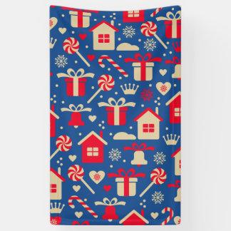 赤く、銀製のクリスマスのキャンデーおよびギフトパターン 横断幕