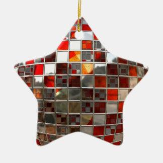 赤く、銀製のディスコの鏡の星のクリスマスのオーナメント セラミックオーナメント