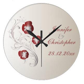 赤く、銀製のパンジーの結婚式の想い出の品 ラージ壁時計
