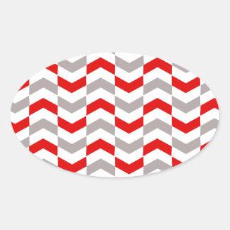赤く、銀製のヘリンボン 楕円形シール