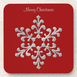 赤く、銀製の雪片のコースター コースター
