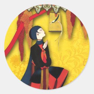 赤く、青および黄色の帝国鳥 ラウンドシール